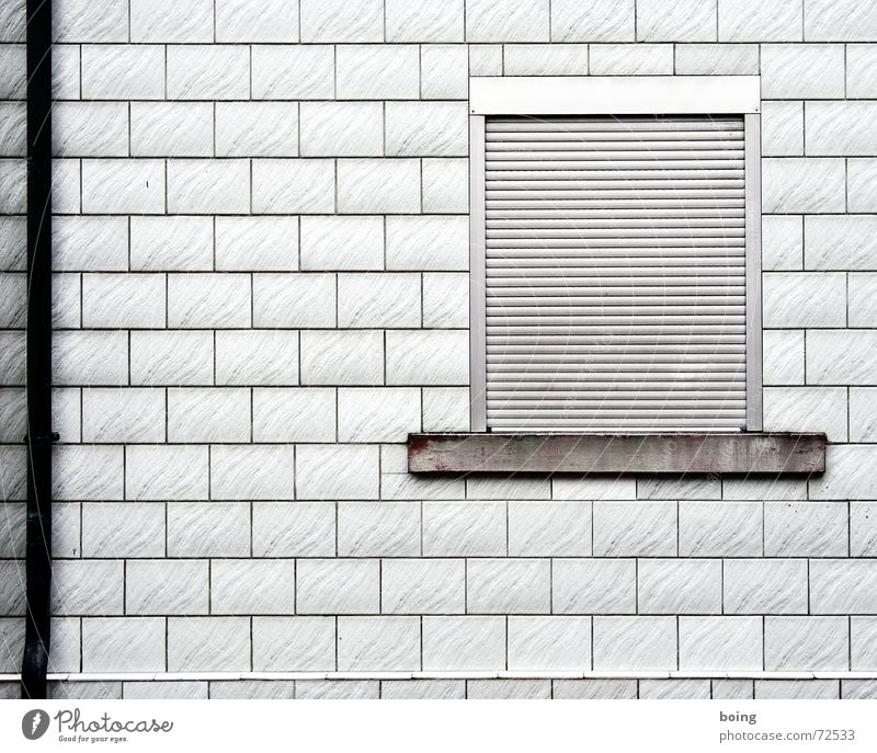 room with no view Window House (Residential Structure) Facade Closed Roller shutter Roller blind Downspout Tile Window board Aluminium Headache Dark Dreary
