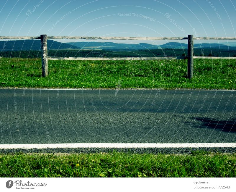 Green Summer Far-off places Street Forest Meadow Mountain Landscape Line Empty Arrangement Americas Traffic infrastructure Fence Barrier Symmetry