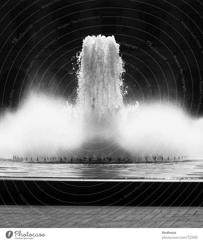 fountain Water fountain Effervescent White crest Louvre Well Loud Black & white photo milk foam Mineral water