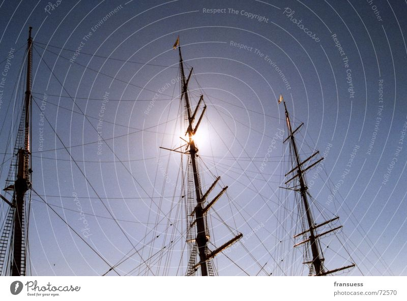 triptych Watercraft Ocean Sailing Electricity pylon baroque Sun Sky Rope Wind sea ship cruise