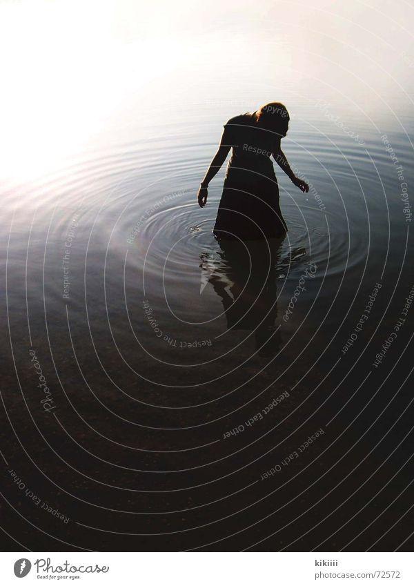 dark water Dark Lake Wet Mystic Creepy Loneliness Grief Exterior shot Water Circle Sadness