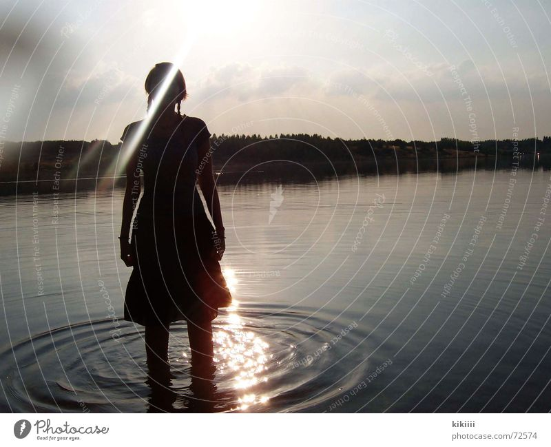 girl in the lake Lake Large Stand Loneliness Exterior shot Circle Sun Lighting Evening