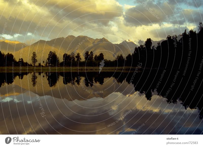 Tree Calm Clouds Colour Above Mountain Lake Warmth Line Moody Free Horizon Morning Physics Mirror Middle
