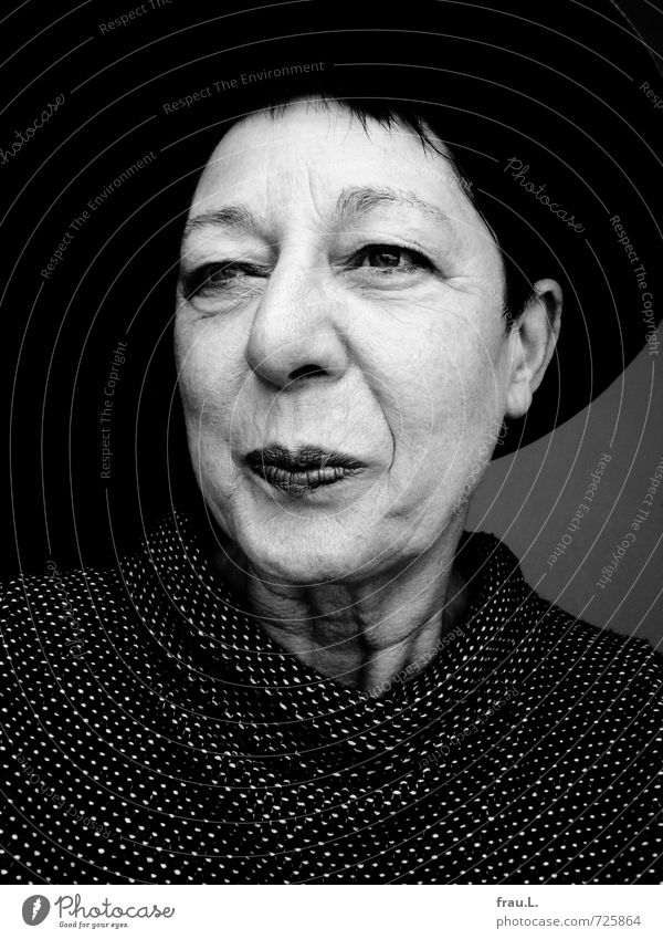 my father's hat Human being Feminine Woman Adults Female senior Face 1 60 years and older Senior citizen Sweater Hat Black-haired Short-haired Smiling