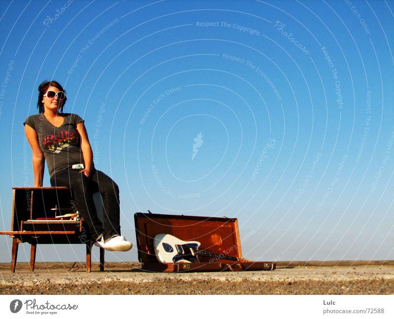 I'll Show You Attitude! record player guitar case blue skye sunglasses sunny bright attitude youth gravel Fashion
