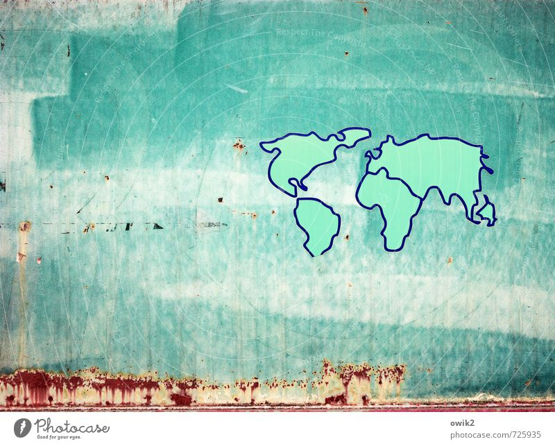 Blue Old Red Dye Art Metal Large Infinity Turquoise Rust Painted Contour Work of art Gigantic Continents Map of the World