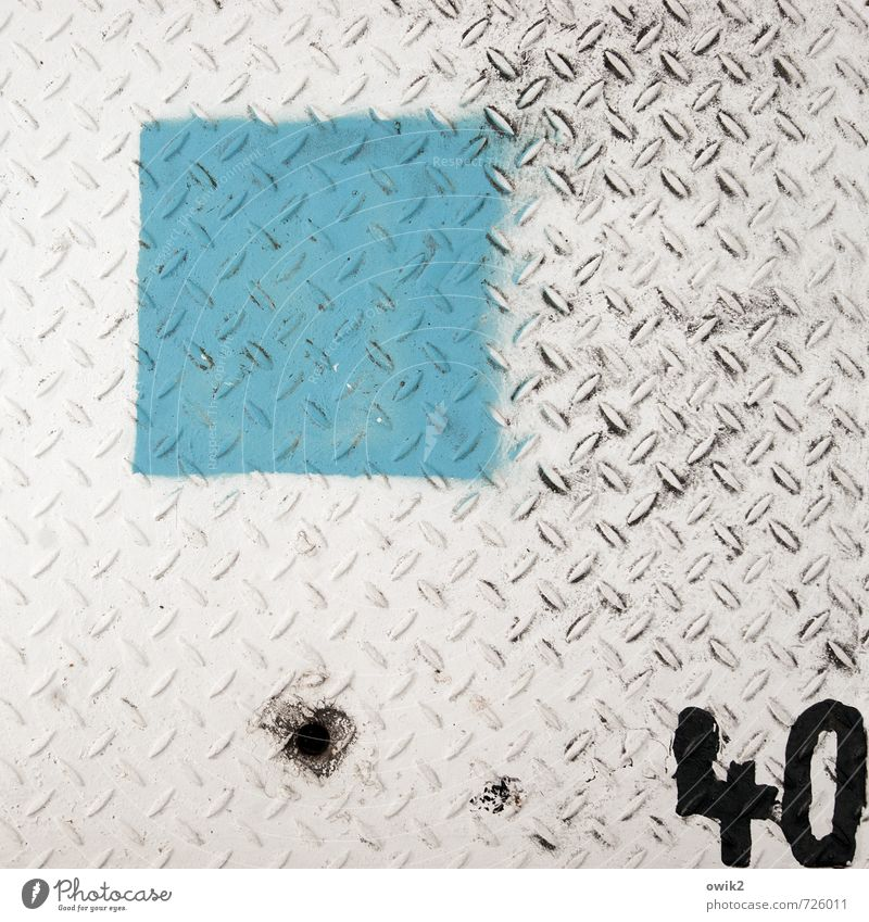 Counted Metal Digits and numbers 40 Simple Gray Black Turquoise White Square Dye Under Colour photo Exterior shot Close-up Detail Pattern Structures and shapes