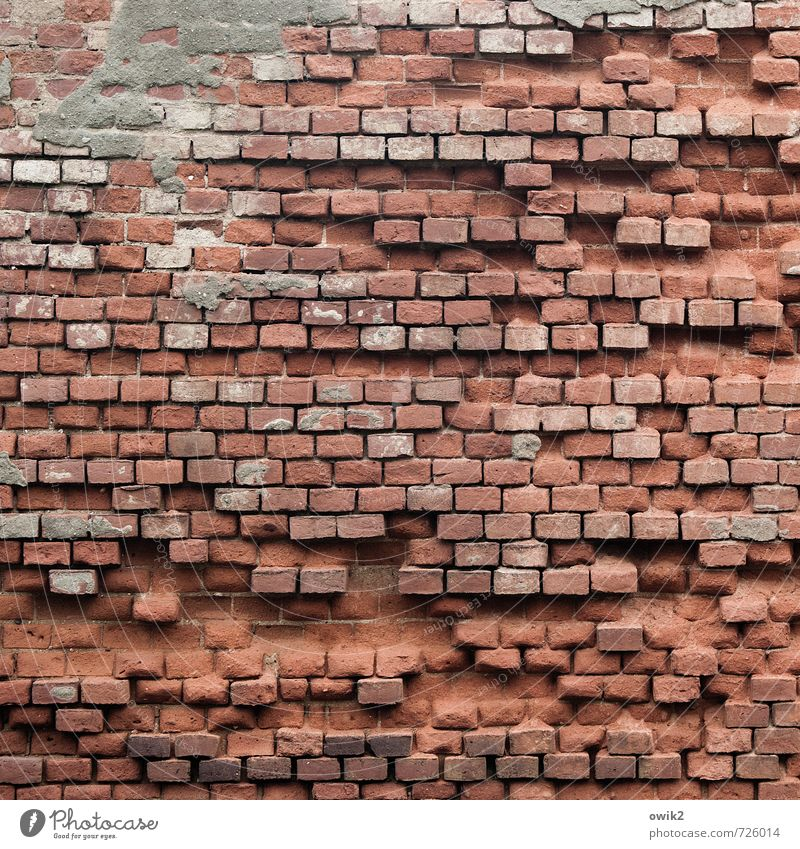 After the storm Wall (barrier) Wall (building) Facade Brick wall Old Gloomy Brick red Many quantity Direct accurate Accuracy Derelict Damage Broken Gap