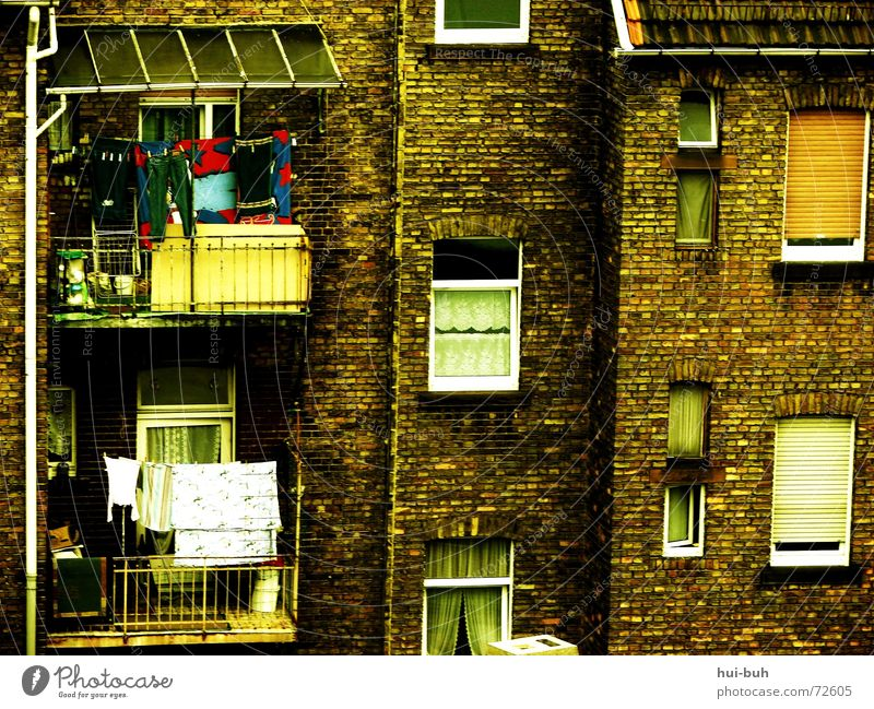 Human being Old House (Residential Structure) Window Dirty Arm High-rise Broken Laundry Curtain Rich Block Morocco Africa Rent Old building