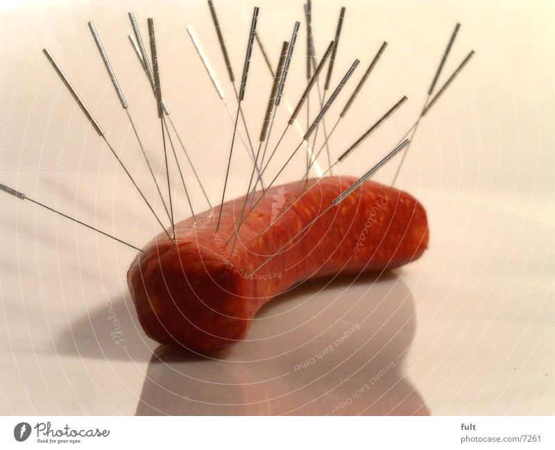 flesh without medicament residues Sausage Acupuncture Meat Round Red Nutrition Delicious Raw Reflection Under Needle Metal Sausage casing Food Lie
