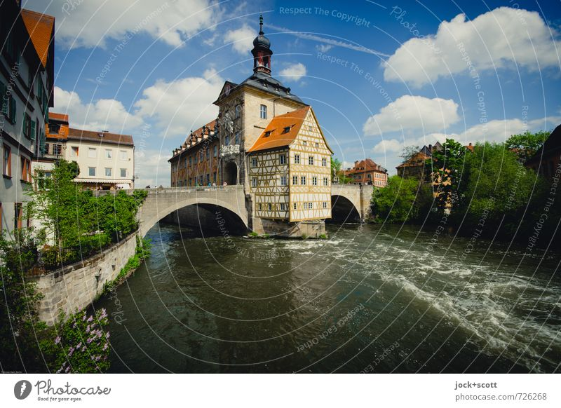Postcard Bamberg Sightseeing City trip Rococo Sky Clouds Spring Climate Beautiful weather River Regnitz river Downtown City hall Half-timbered house