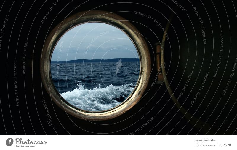 porthole Lake Waves Ocean Vacation & Travel Croatia Watercraft Porthole Vantage point Nautical scuttle Blue Hollow boat sea