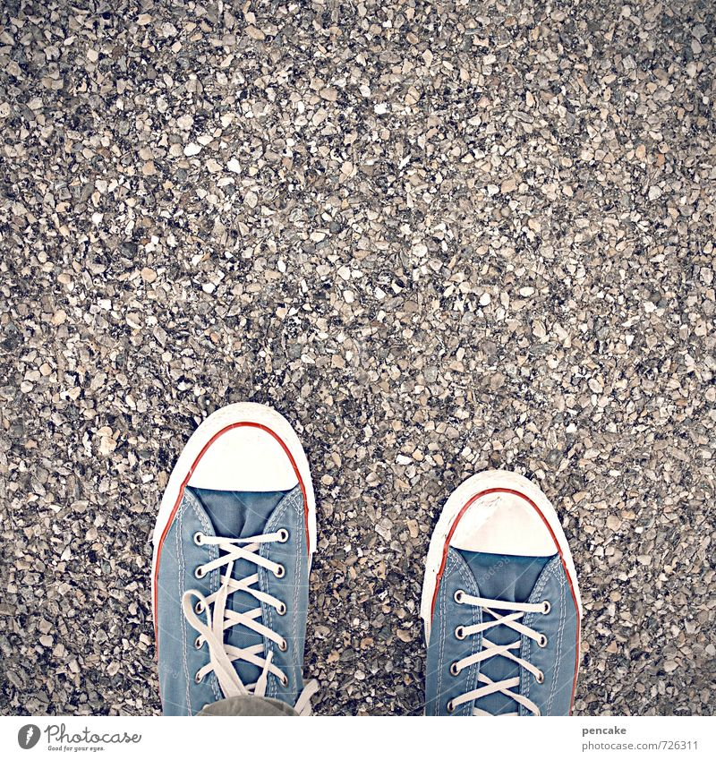 One foot in front of the other. Feet Footwear Sneakers Sign Breathe Going Colour photo Exterior shot Close-up Detail Structures and shapes Copy Space top