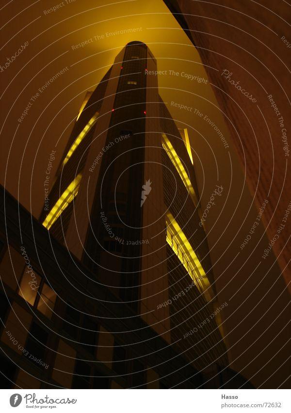 Sky Yellow Bright Large High-rise Tall Might Frankfurt Illuminate Brilliant Night shot