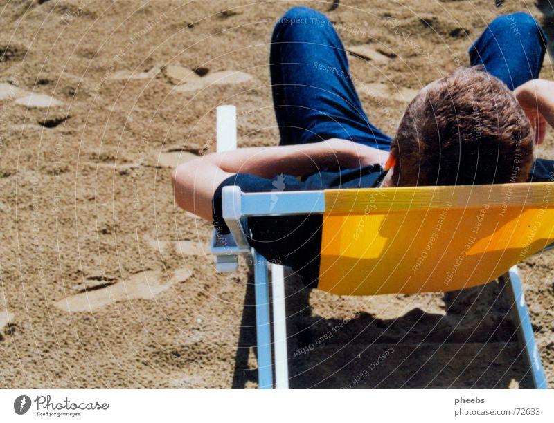 alekSanDer Vacation & Travel Beach Ocean Italy Summer Couch Deckchair Man Slouch Sand Jeans Head Hair and hairstyles