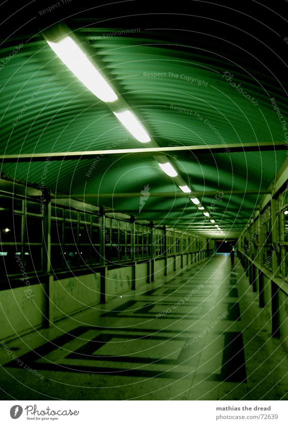 Green Loneliness Dark Berlin Window Lighting Empty Perspective Dangerous Threat Tile Square Tunnel Neon light Symmetry