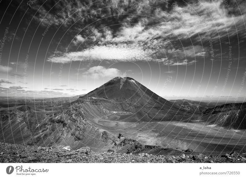 Mordor b/w Environment Nature Landscape Elements Earth Air Sky Clouds Horizon Beautiful weather Rock Mountain Peak Volcano Mount Ngauruhoe Wanderlust