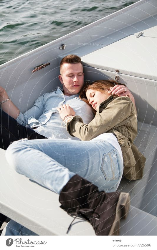 on the lake Masculine Feminine Young woman Youth (Young adults) Young man Couple 2 Human being 18 - 30 years Adults Hip & trendy Leisure and hobbies Rowboat