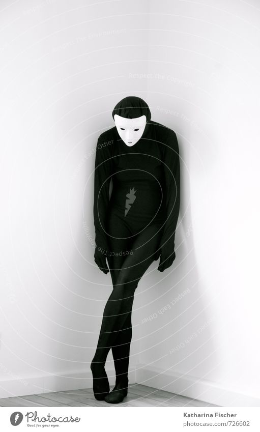 Human being White Black Sadness Emotions Interior design Moody Art Room Gloomy Stand Grief Mask Fatigue Distress Concern
