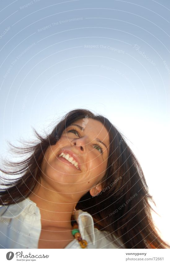 Woman Sky White Blue Summer Eyes Lamp Laughter Hair and hairstyles Dream Warmth Lighting Wind Nose Horizon Tall