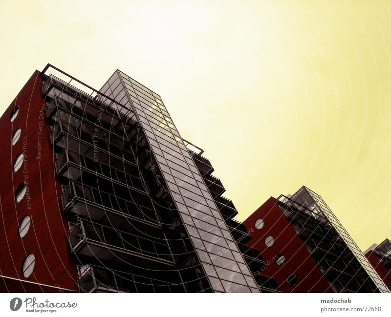 HIGH AND RAISING | high-rise building architecture House (Residential Structure) Building Block High-rise Red Yellow Sky Grating Material Wall (barrier)