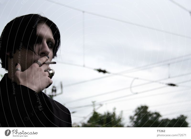 Sky Dark Cold Gray Circle Threat Cigarette High voltage power line Power transmission