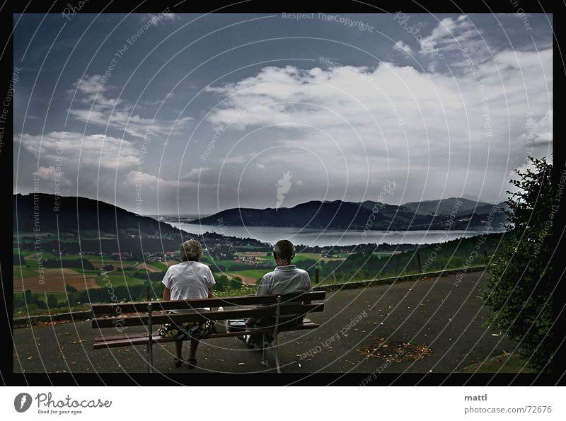 silence Calm Lake Attersee Senior citizen Panorama (View) Contrast cromberg Bench Large Sadness