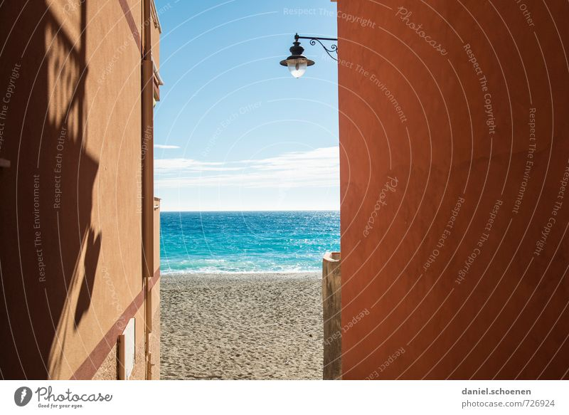 Vacation & Travel Blue Summer Sun Ocean Relaxation Red Beach Yellow Coast Bright Horizon Tourism Summer vacation