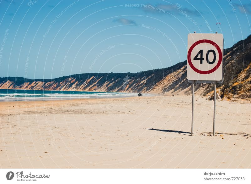 Beach driving for cars in this beach area, the maximum speed is limited to 40 km. With signpost 40 Km.  Beautiful view. Joy Relaxation Motorsports Landscape