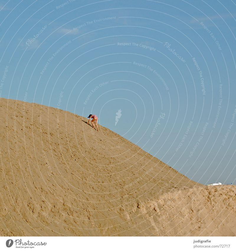 Child Girl Sky Blue Summer Above Mountain Sand Small Tall Climbing Swimming & Bathing Hill Upward Barrier Gravel