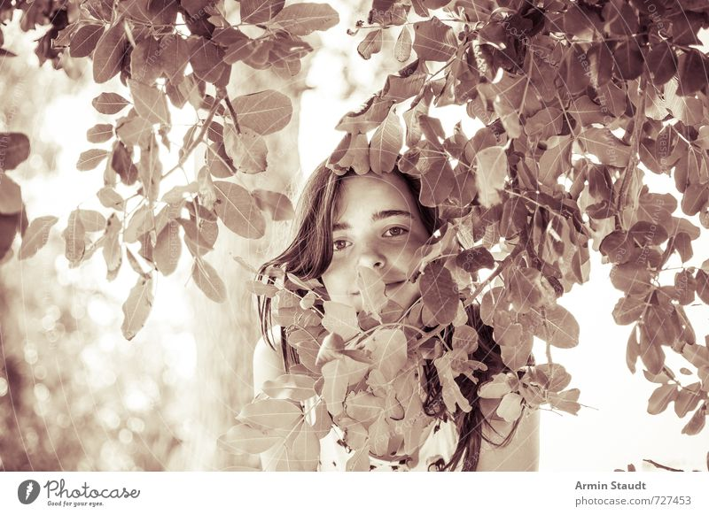 Human being Child Nature Youth (Young adults) Old Beautiful Summer Tree Leaf Emotions Feminine Happy Stand 13 - 18 years Esthetic Happiness