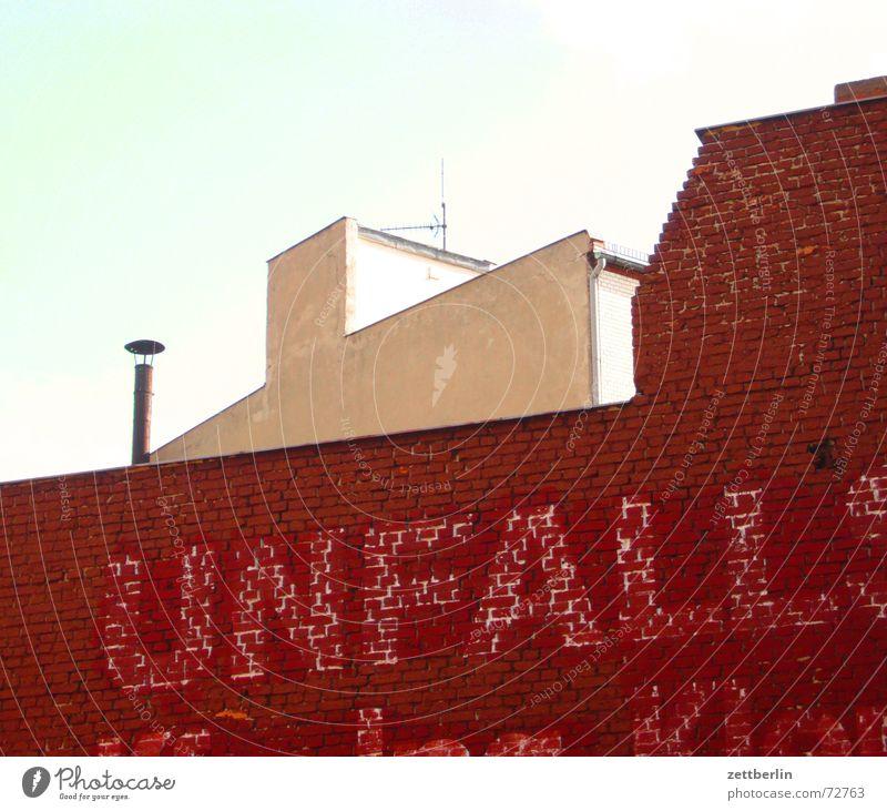 Sky Facade Information Brick Advertising Chimney Past Accident Antenna Inscription Berlin Bleached