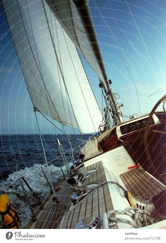 Hard on the wind Sailing Adventure Ocean Captain Life jacket Railing Starbord Port side White crest Waves Diagonal Driving Wind Freedom no harbour in sight