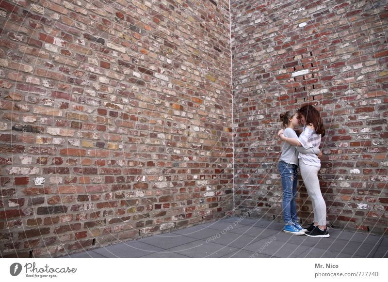 Human being Child Girl House (Residential Structure) Wall (building) Sadness Feminine Architecture Wall (barrier) Building Happy Fashion Dream Friendship