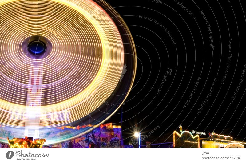 ecstasy of joy Speed Multicoloured Night Oktoberfest Loud Fairs & Carnivals Theme-park rides Lighting Scream Long exposure Giddy carousel