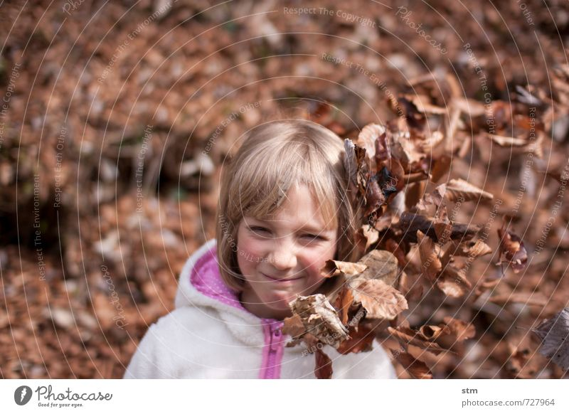 Human being Child Nature Leaf Girl Forest Life Emotions Feminine Playing Moody Leisure and hobbies Power Hiking Blonde Infancy