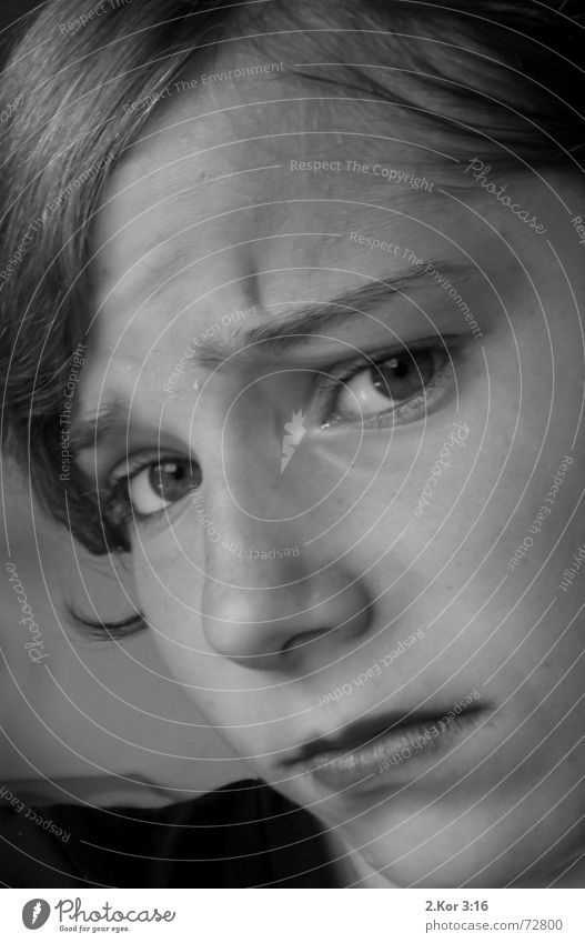 Why?????? Girl Distress Portrait photograph manic-depressive Close-up Black & white photo Sadness Furrowed brow Concern Looking into the camera