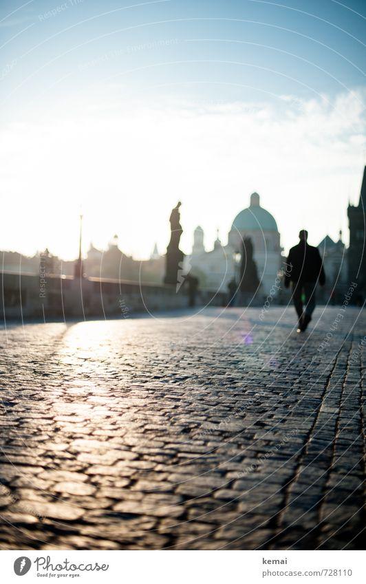 Bridge of light Human being Masculine Man Adults 1 Prague Town Capital city Downtown Old town Skyline Statue Tourist Attraction Landmark Monument Charles Bridge