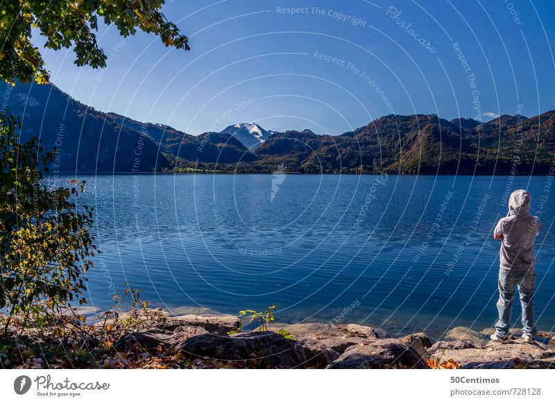 The view over the Attersee lake Lifestyle Luxury Healthy Fitness Leisure and hobbies Vacation & Travel Tourism Trip Adventure Freedom Summer Summer vacation Man