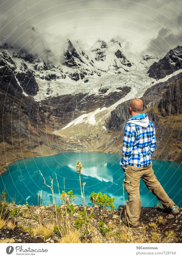 The Hiker Vacation & Travel Tourism Trip Adventure Far-off places Freedom Expedition Winter Snow Hiking Man Adults 1 Human being Environment Nature Landscape