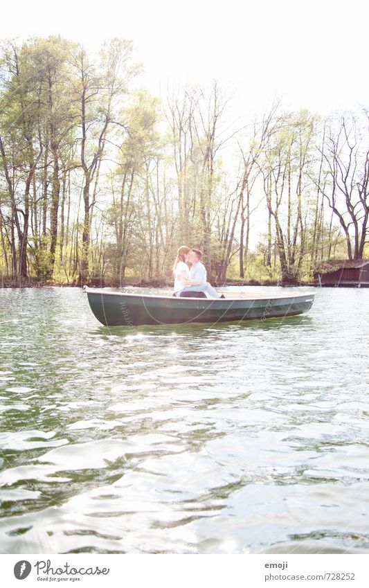 Human being Nature Environment Love Spring Lake Couple Leisure and hobbies Beautiful weather Rowboat