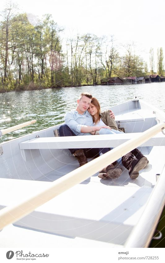 swing Masculine Feminine Young woman Youth (Young adults) Young man Couple 2 Human being 18 - 30 years Adults Environment Nature Spring Beautiful weather Lake