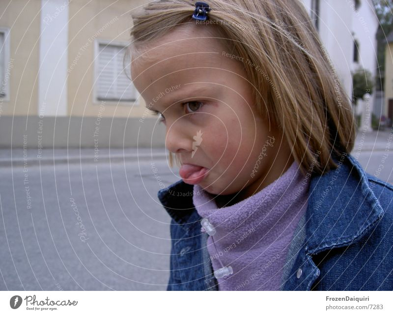 Child Girl Face Blonde Small Facial expression Grimace Ferocious