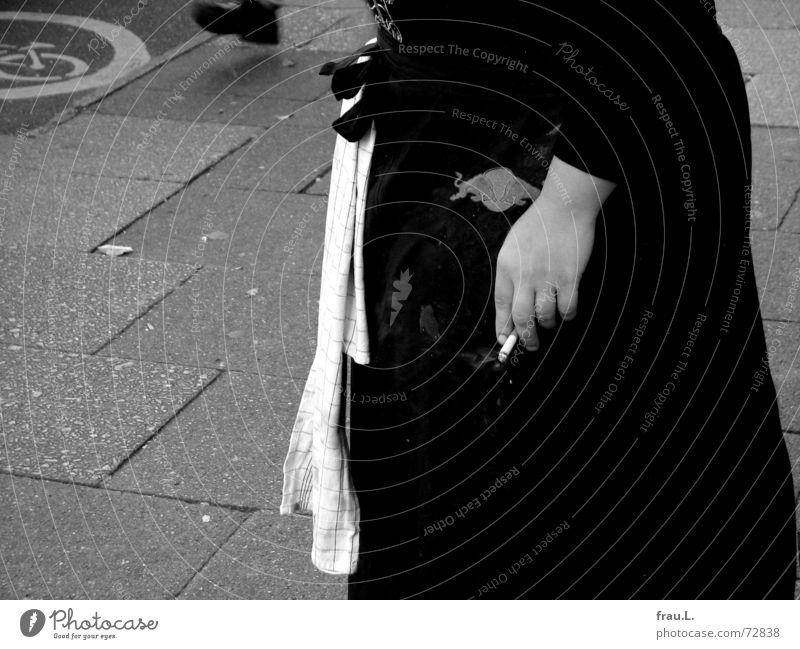 cigarette break Gastronomy Dish towel Dappled Apron Relaxation Cycle path Woman Break Restaurant Sidewalk café Dirty Hand Cigarette Pedestrian Cigarette break