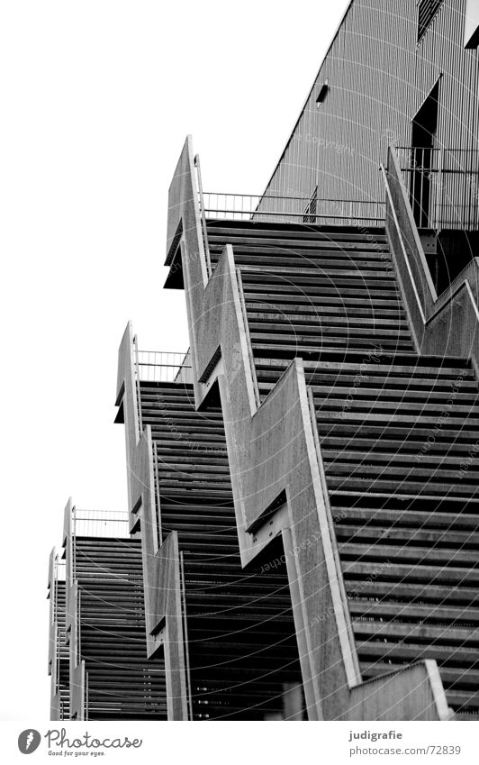 staircases 4 Building House (Residential Structure) Construction Downward Entrance Way out Black White Gray Gloomy Geometry Detail Black & white photo Stairs
