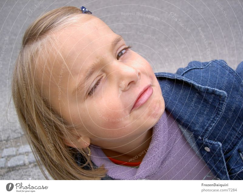 Child Girl Face Blonde Small Crazy Facial expression Grimace