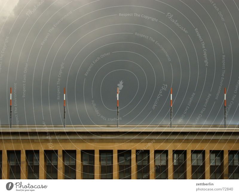Clouds Window Building Facade 5 Airport Electricity pylon Thunder and lightning Warehouse Antenna Menacing Glazed facade Storm warning Bank of clouds