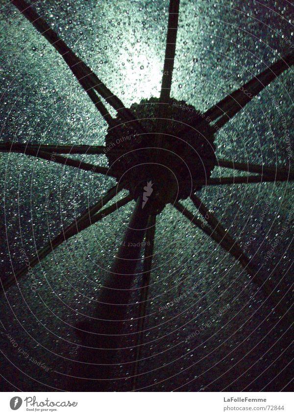 Green Black Dark Rain Drops of water Wet Umbrella