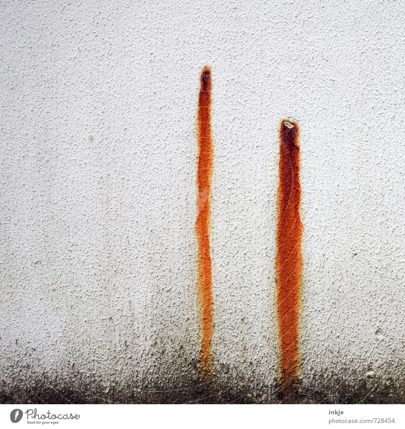 3...2...1.... FIRE! Deserted Wall (barrier) Wall (building) Facade Rendered facade Plaster Rust Line Stripe Tracks Old Dirty Thin Long Brown Gray Black White