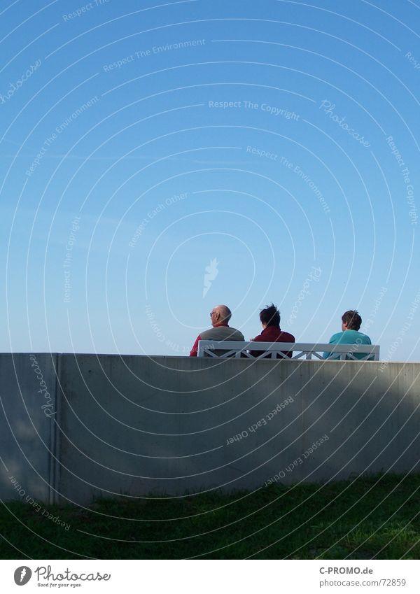 Human being Woman Sky Man Blue Old Vacation & Travel Green Ocean Beach Joy Calm Relaxation Meadow Senior citizen Group